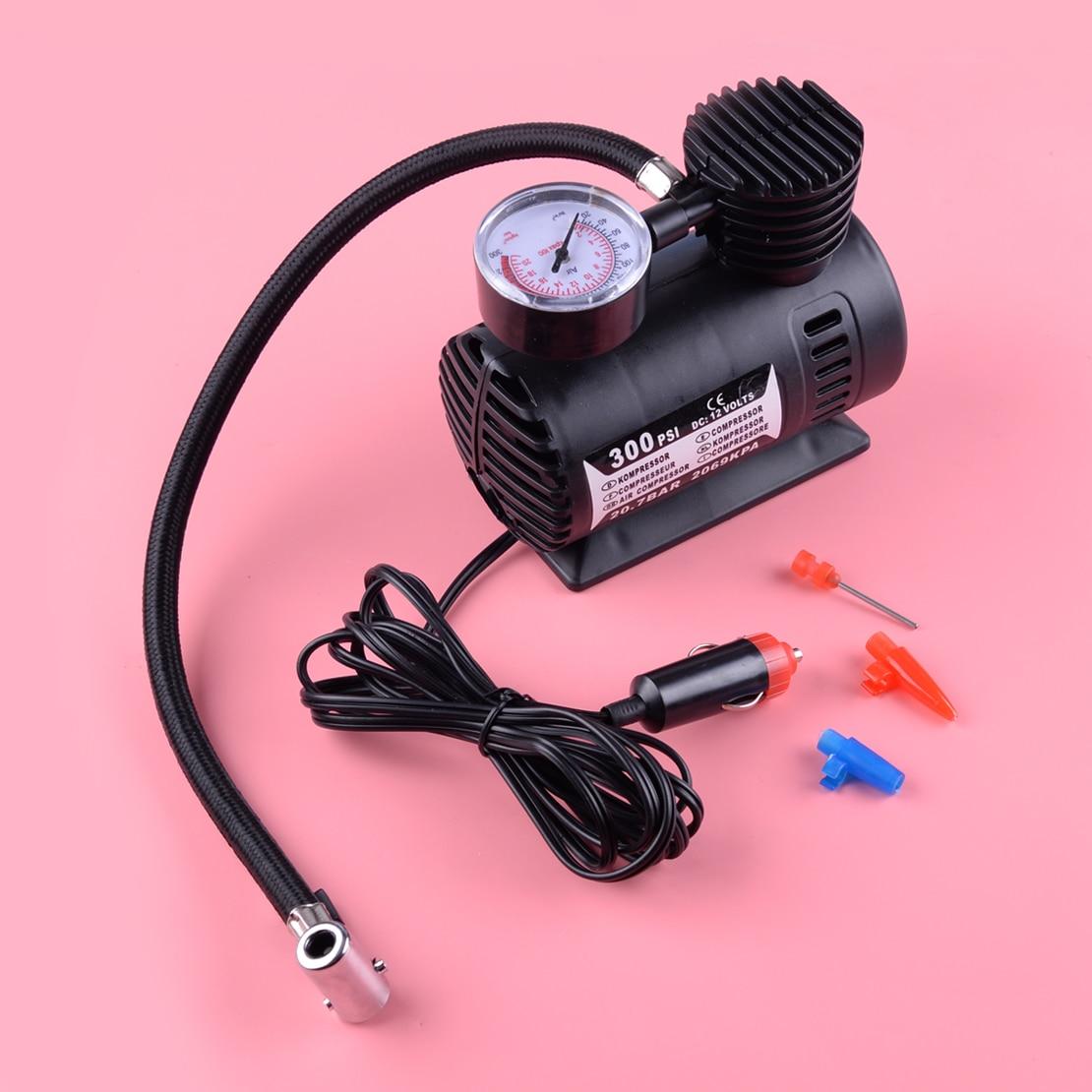 LETAOSK 1Pcs Black 300PSI 12V Portable Mini Air Compressor Auto Car Electric Tire Air Inflator Pump Tool