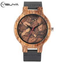YISUYA Creative Burned Paper Style Charming Retro Bamboo Watch Wooden Male Female Broken Leaves Face Clock hour Reloj de madera light green brown dial wood watch minimalism simple wooden natural bamboo male female genuine leather gift clock reloj de madera