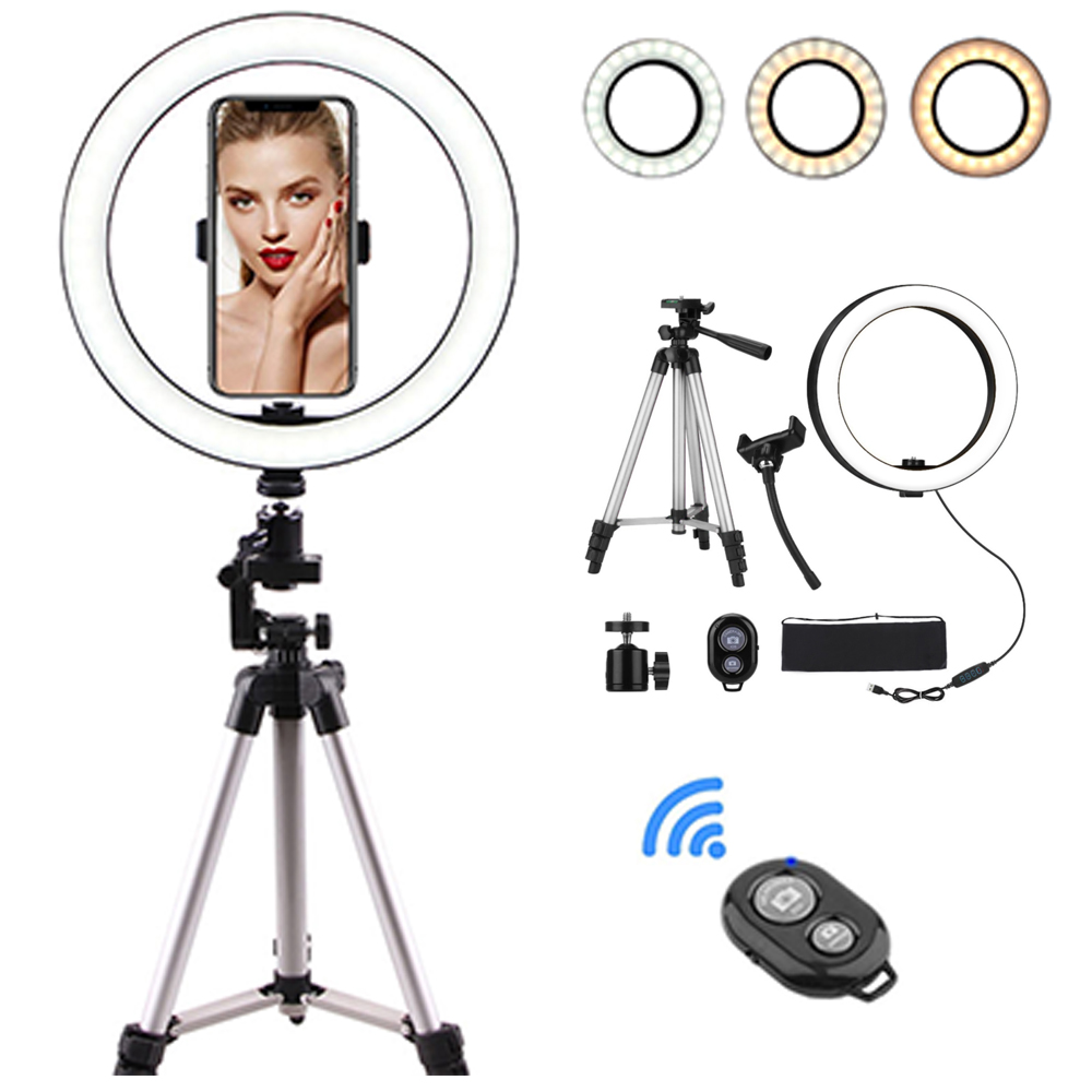 10 Inch Photo LED Selfie Ring Light Tripod LED Ring Light For Phone Video Camera Studio Make Up Lamp With USB Ring Lamp