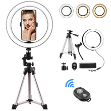 10 Inch Photo LED Selfie Ring Light Tripod LED Ring Light For Phone Video Camera Studio Make Up Lamp With USB Ring Lamp dimmable diva 12 60w led studio ring light beauty make up selfie video photo