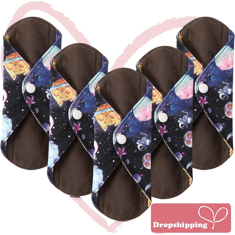 Ohbabyka S M L Bamboo Charcoal Mama Reusable Menstrual Cloth Sanitary Pads Napkin Waterproof Panty Liners Women Feminine Hygiene