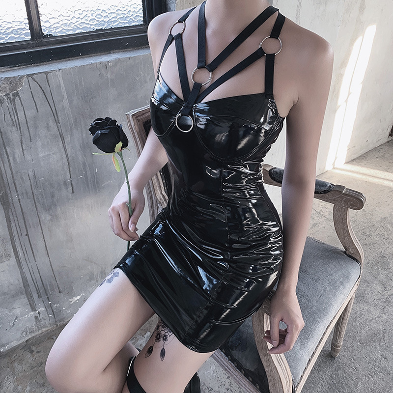 BacklakeGirls Criss Cross Back PU Leather Women Black Tight Party Dress Low Cut Bodycon Belted Sexy Night Club Dress Vestidos