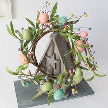 イースターエッグドア花輪春パステルミックスpipベリーフロントドア花輪キャンドルリング農家プリミティブ家の装飾