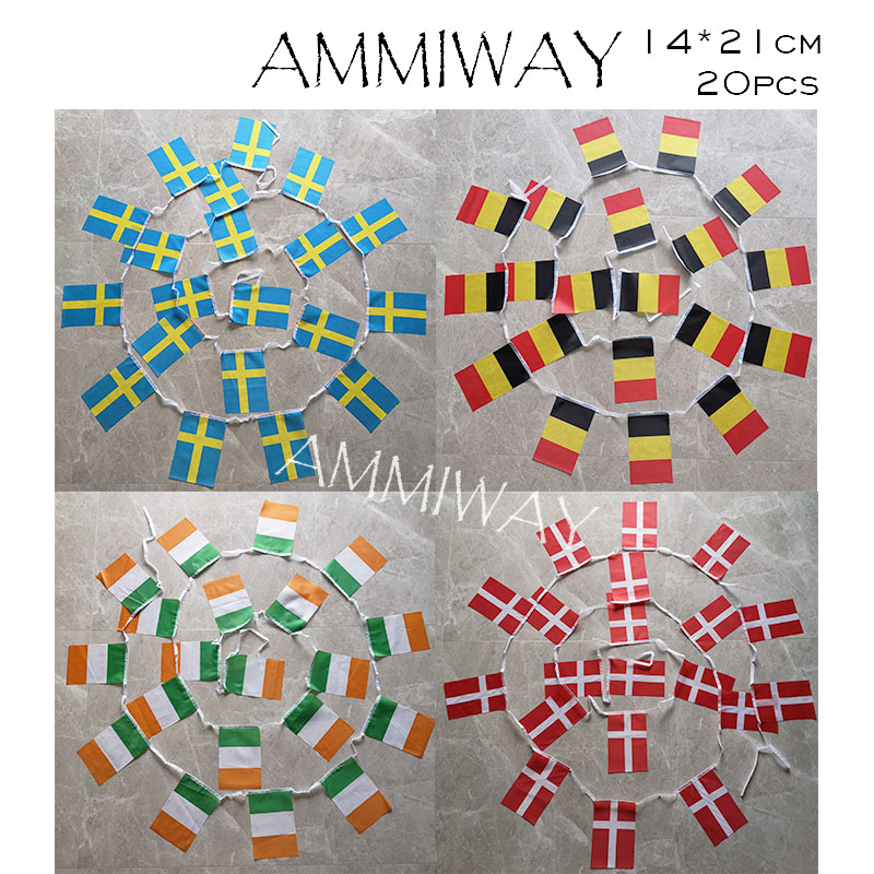 AMMIWAY 14x21cm 20pcs Ireland Denmark National String Bunting Flag Swden Belgium Country String Banner Festival Party Buntings