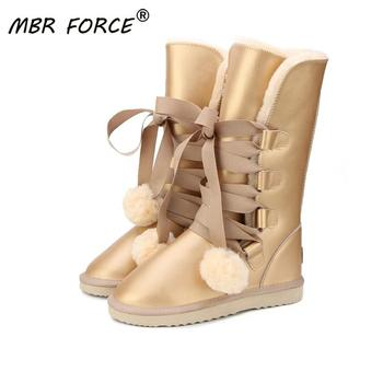 MBR FORCE  Classic Women Snow Boots Leather Winter Shoes Boot bota feminina botas mujer zapatos waterproof - discount item  53% OFF Women's Shoes