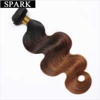 Spark Hair-extensiones de cabello humano ombré brasileño ondulado, 1/3/4 mechones, 100% mechones de cabello humano postizo, relación media, 100%, Remy
