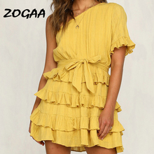 ZOGAA Summer Layered Ruffles One Shoulder Sexy Dress Women Short Sleeve Lace Up Elegant Mini Dresses Party Club Vestidos