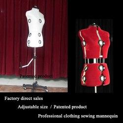 Adjustable size Professional level Sewing mannequin Insertable needle Half-body woman Dressmaker model for Clothing designer