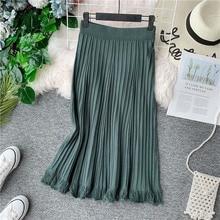 NiceMix  Elegant Knit Winter Skirt 2019 Women Korean Style Tassel Pleated Midi Ladies High Waist A Line Green