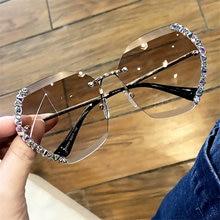 Occhiali da sole senza montatura con diamanti donna uomo moda occhiali tondi oversize senza montatura occhiali da sole retrò con gradiente rosa per auto