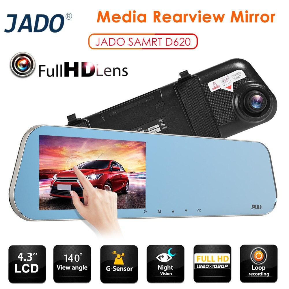 JADO Recorder Car Rearview-Mirror Dashcam DVR Car-Dvr Streaming Auto 1080p FHD LCD Camara
