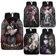 Escuro gótico anjo/grim reaper crânio/lobo mochila para sacos de escola adolescente do punk das mulheres dos homens mochila de viagem mochila escolar
