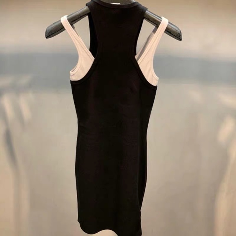 New Knitted Vest Dress In Spring and Summer of 2019 Sleeveless Straight Fashion Black Dress Women in Dresses from Women 39 s Clothing