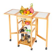 Dining Cart Kitchen Cart Portable Rolling Drop Leaf Kitchen Storage Trolley Cart Island Sapele Color 91 x 37 x 75cm cheap 44220485 Ceramic Slate Pine Wood Frame (35 8 x 14 6 x 29 52) (91 x 37 x 75)cm (L x W x H) 0 59 1 5 cm (1 38 x 0 59) (3 5 x 1 5)cm (L x W)