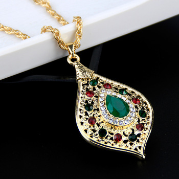 Sunspicems Unique Gold Color Morocco Long Pendant Necklace Snake Chain for Women Arabic Ethnic Wedding Jewelry Turkish Gift 1