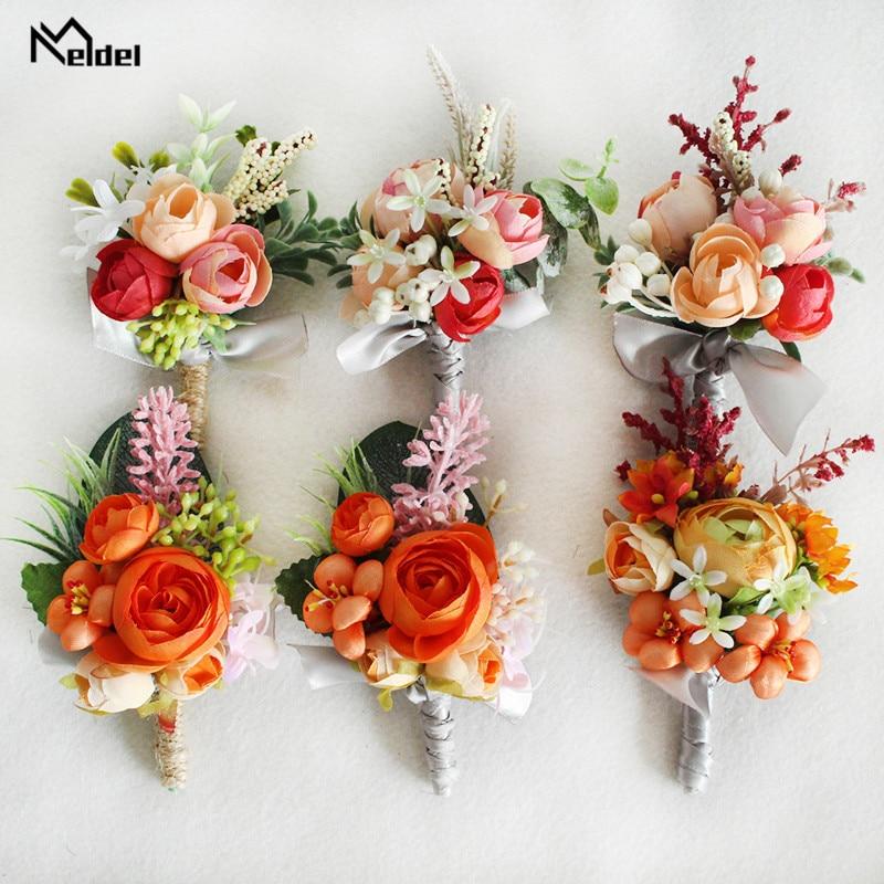 Meldel Silk Rose Boutonniere Wedding Wrist Corsage Bridesmaids Bracelet Groom Boutonniere Wedding Marriage Corsage Orange Flower