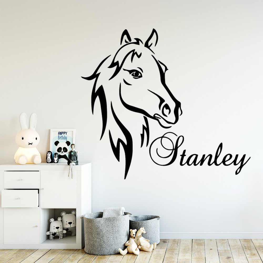 Artistic Horse Custom Name Wallpaper Wall Sticker For Kids Rooms