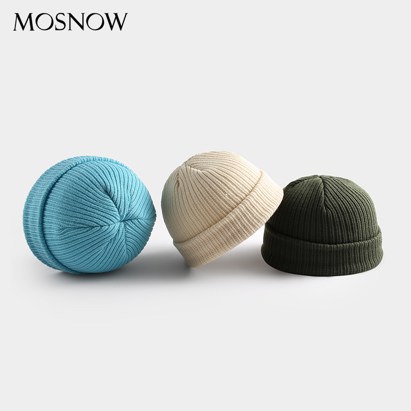 Knitted Hats Skullcap Winter Beanie Autumn Wide Caps Short Warm Women Wool Unisex Adult