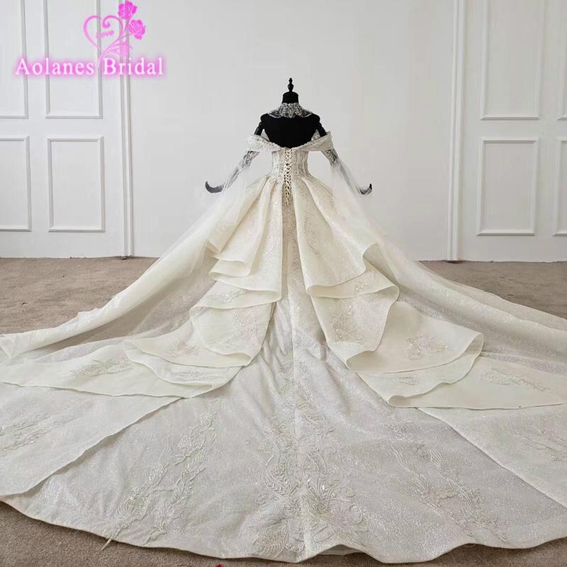 Блестящие Свадебные платья с длинным рукавом, блестящее кружевное бальное платье невесты с ожерельем, с цепным рукавом, шаль, Свадебное бальное платье