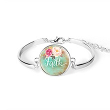 Handmade Bible Verse Bracelet Faith,Dream,Love,Hope,Believe,Art Glass Dome Charms Psalm Quote Jewelry Christian Gifts