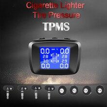 Car Wireless Tire Pressure Monitoring System USB Charging TPMS Cigarette Lighter Digital LCD Display 4 External Internal Sensors