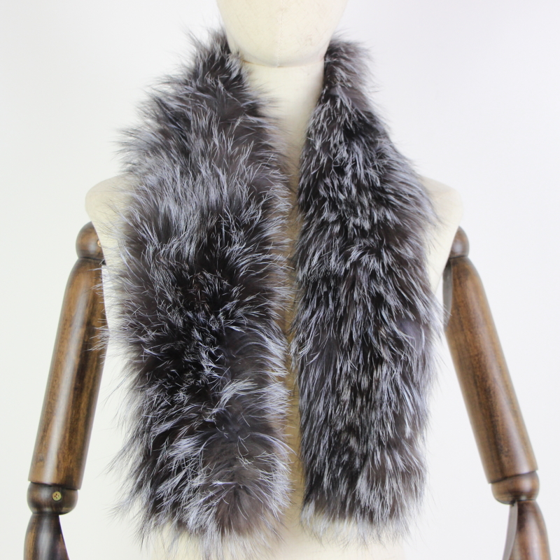 2019 New Women Genuine Knitted Fox Fur Scarf Real Fur Collar Winter Warm Neck Warmers  Silver Fox Colorful Mixed Color Scarf