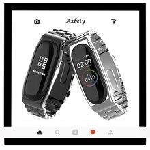Correia de pulseira de aço inoxidável para smart watch, bracelete de metal inox para mi band 4 cinto de tira