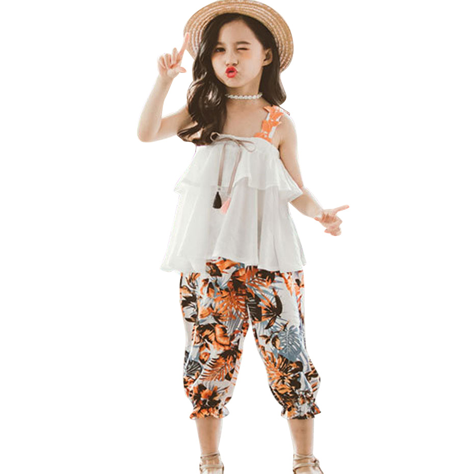 Roupas de verão para meninas, colete liso + calça floral, trajes para meninas, crianças e adolescentes, conjunto de 6 8 10 12 13 14 ano