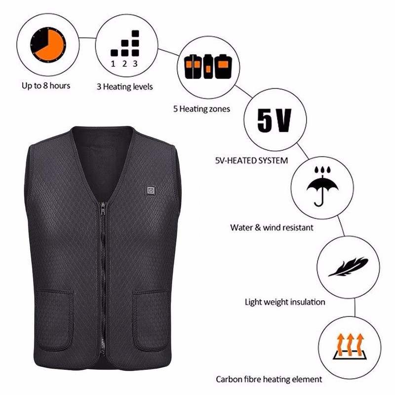 Heated rechargeable winter vest 3