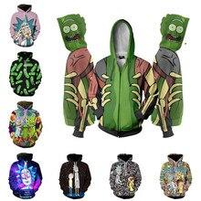 Рик Морти толстовки Толстовка аниме косплей костюм для мужчин 3D куртка с капюшоном Топ Новинка