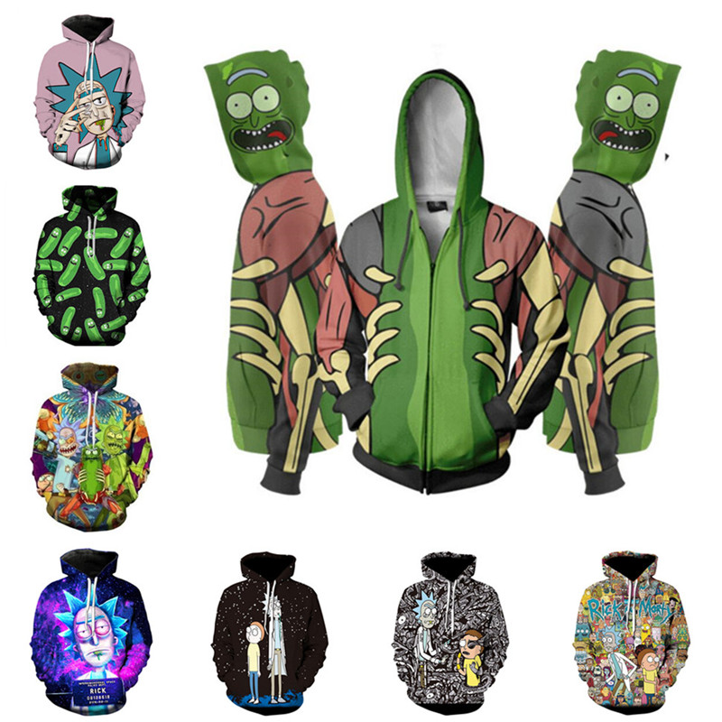 Rick Morty Hoodies Sweatshirt Anime Cosplay Costume Men 3D Jacket Hooded Top New