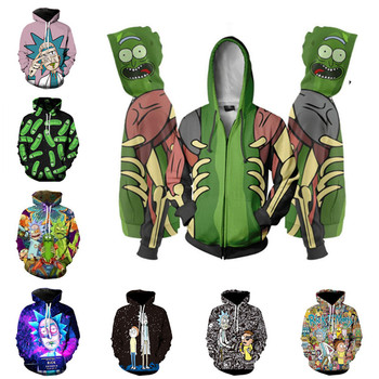 Rick Morty hoodies Sweatshirt Anime Cosplay Costume Men 3D Jacket Hooded Top New new anime rick and morty backpack anime bags student oxford schoolbags