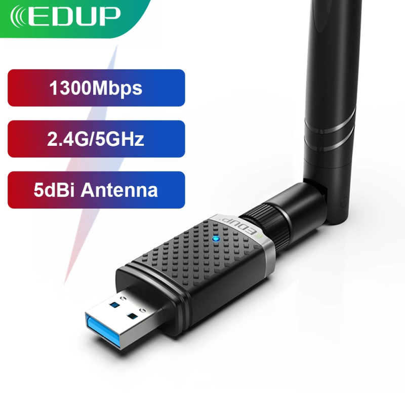 EDUP 1300Mbps USB WIFI Adapter Dual Band 5G/2.4Ghz RTL8812BU USB 3.0 AC Wi-Fi Dongle Network Card for PC Laptop Accessories