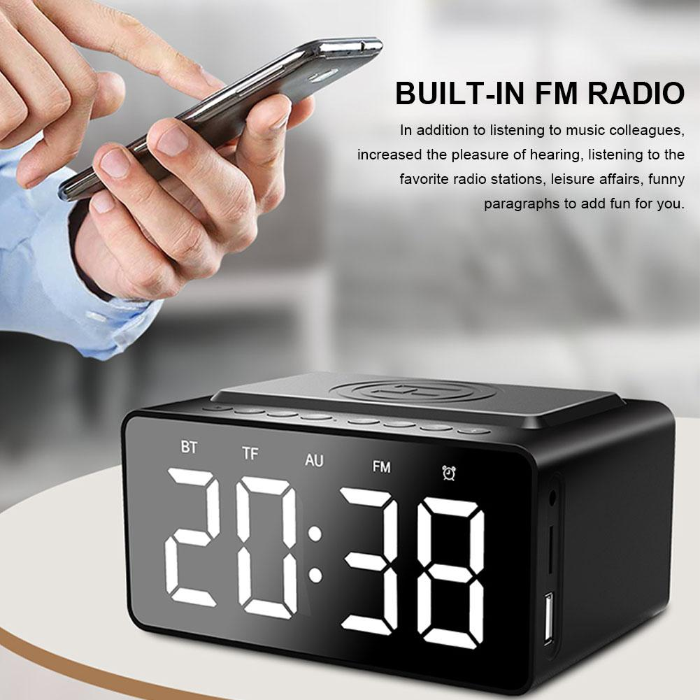 BT508 with Wireless Charging Bluetooth Speaker Clock LED