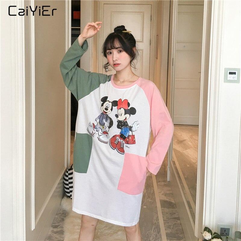 Caiyier   Nightgown   Women Cotton Long Sleeve Sleepwear O-Neck Night Dress Cute Mickey Cartoon Print Ladies Spring   Sleepshirts