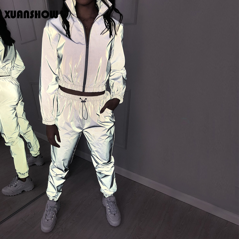 XUANSHOW Women Windbreak Set Reflective Two Piece Set Casual Hip Hop Jackets Night Light Clothes Long Pant Suit 2019 Plus Size