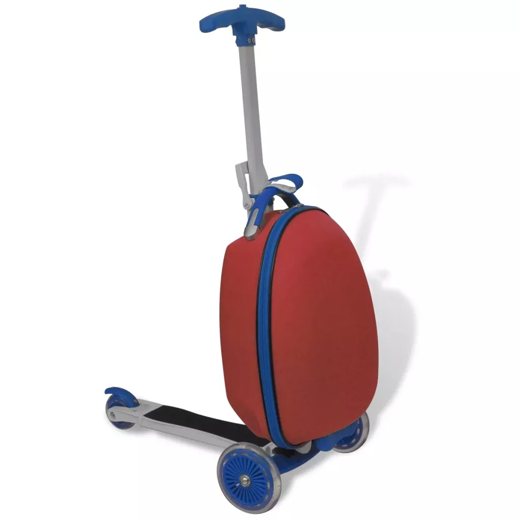 VidaXL Scooter With Trolley Case For Children 3 Wheels Comfortable Grips Metal Handlebar Sturdy Max Load 50KG Kids' Scooter