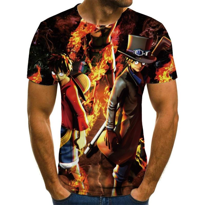 2021Loose T-shirt men's and women's casual printing O-neck short-sleeved T-shirt skull 3DT shirt anime cartoon pattern110/6XL