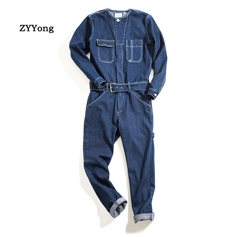 Man Jeans Jumpsuits Bib Overalls Japanese Style Loose Straight Streetwear Denim Cargo Pants Fashion Leisure Freight Trousers
