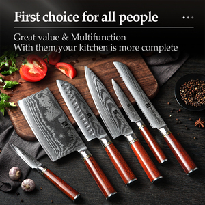 Image 5 - XINZUO 6 PCS Knife Set Japanese VG10 Damascus Forged Steel Bread Santoku Chef Paring Utilities Knives Kitchen Cutlery Gift Box