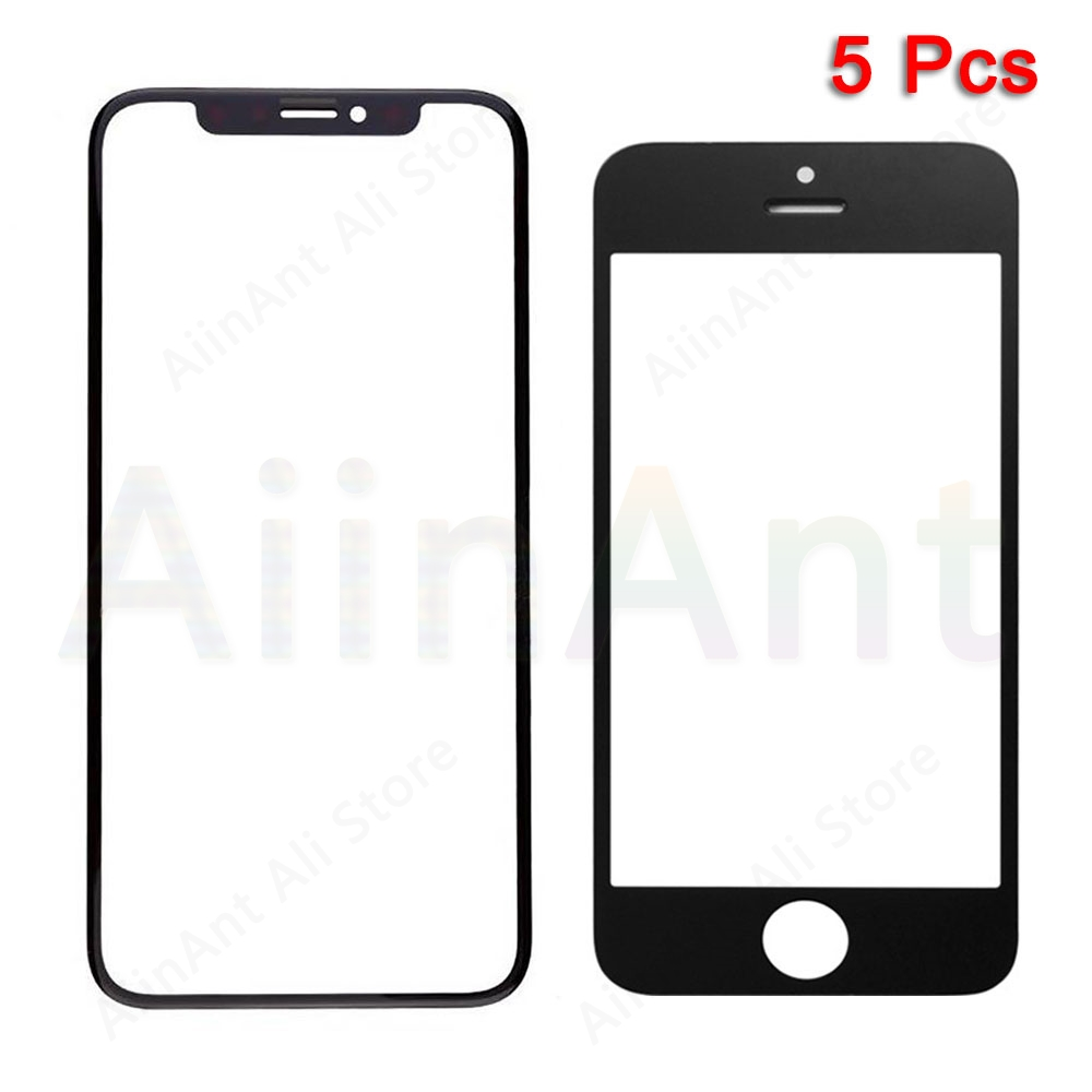 5 Piece Touch Glass For iPhone 5 5s 6 7 8 6s Plus XR X Xs Max Single Front Outer LCD Screen Repair Parts image