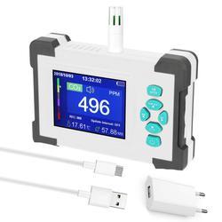 Medidor de co2 qualidade do ar monitor detector gás recarregável sensor dióxido carbono analisador ar profissional tester com storagecase