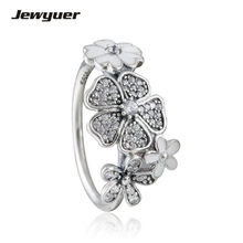 Shimmering Bouquet with White Enamel ring 925 sterling silver jewelry Rings For Women Engagement wedding Ring anillos RIP060(China)