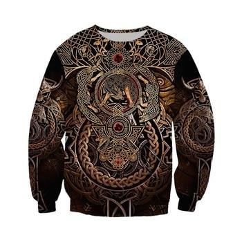 Liumaohua Newest Fashion Viking Warrior Tattoo 3D Printed Shirts casual 3D Print Hoodies/Sweatshirt/Zipper Man Women tops 005 2
