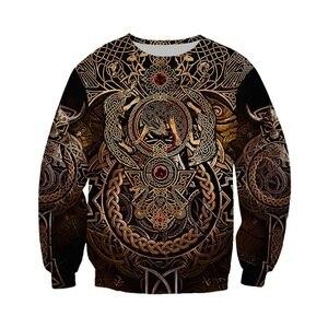 Image 2 - Liumaohua Новая мода Viking Warrior тату 3D Печатные Рубашки повседневные 3D принты толстовки/на молнии мужские женские топы 005