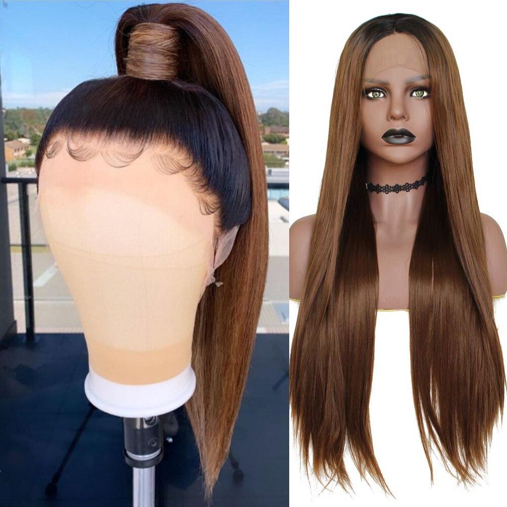 Dlme ombre brown peruca dianteira do laço