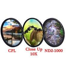 Knightx uv cpl ND2 ND1000 variável colse up macro nd estrela filtro de lente da câmera 52mm 55mm 58mm 67mm 77mm foto cor luz kit