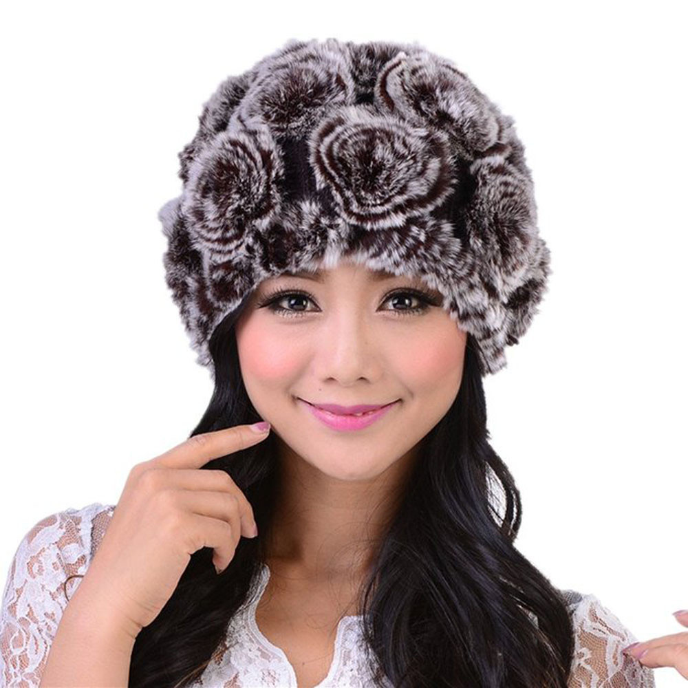 Women's Hat Handmade Women's Fashion Real Knitted Rex Rabbit Fur Hats Lady Winter Warm Charm Beanies Caps Female Headgear 10.7