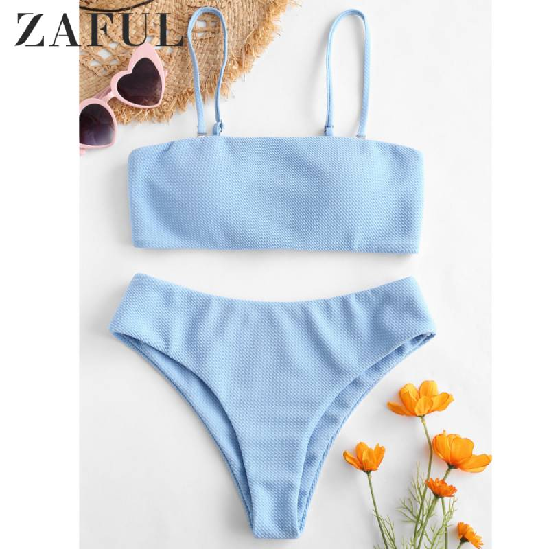 ZAFUL Textured Padded Bandeau Bikini Set Bathing Suit High Cut Female Swimsuit Wire Free Bikini With Removable Shoulder Straps