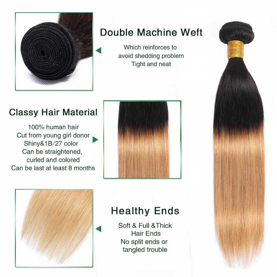 Liddy pacotes com fechamento brasileiro cabelo reto ombre 3 pacotes com fechamento 100% cabelo humano T1B-27 não remy extensões de cabelo